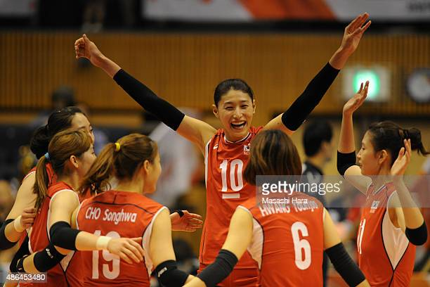 Kim Yeonkoung of Korea Republic celebrates the win during the match between Kenya and South Korea during the FIVB Women's Volleyball World Cup Japan...