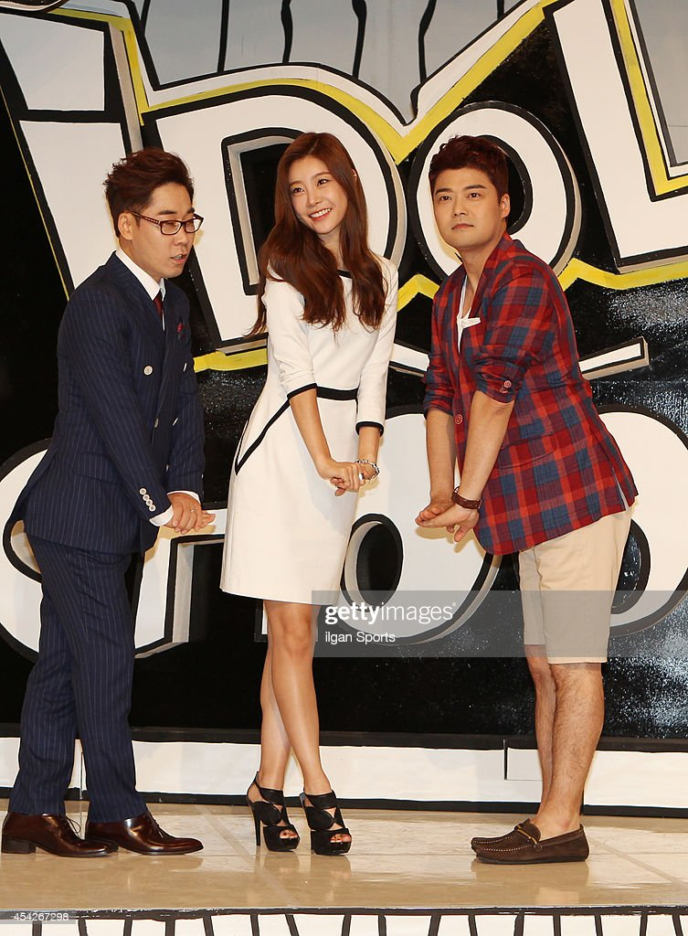 Kim Yeon-Woo, So-Jin of Girl's Day and Jeon Hyun-Moo pose for photographs during the MBC Music 'Idol School' press conference at Digital Magic Space on August 26, 2014 in Seoul, South Korea.