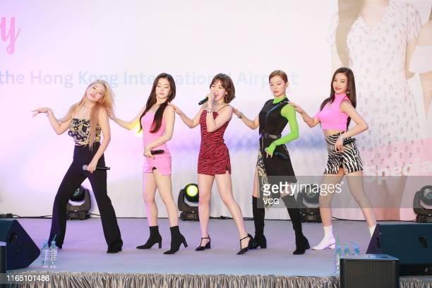 Kim Yerim Bae Joohyun Son Seungwan Kang Seulgi and Park Sooyoung of South Korean girl group Red Velvet perform on July 30 2019 in Hong Kong China