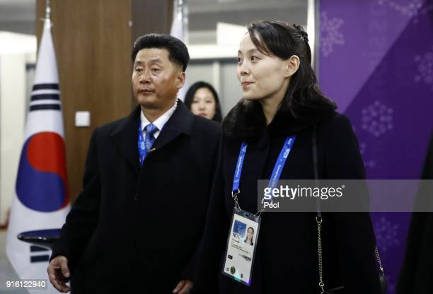 Kim Yo Jong right sister of North Korean leader Kim Jong Un arrives at the opening ceremony of the PyeongChang 2018 Winter Olympic Games at...