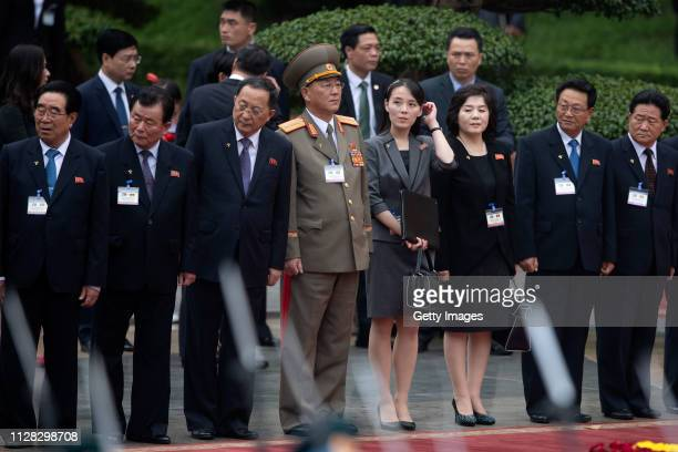 Kim Yo Jong sister of North Korean leader Kim Jong Un and North Korean officials during a welcoming ceremony at the President Palace on March 1 2019...
