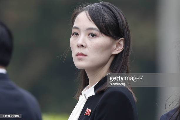 Kim Yo Jong sister of North Korean leader Kim Jong Un attends a wreath laying ceremony at the Ho Chi Minh Mausoleum in Hanoi Vietnam on Saturday...