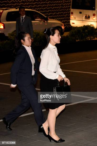 Kim Yo Jong the younger sister of North Korea's leader Kim Jong Un is arrives at the Singapore's Gardens by the Bay Marina Bay Sands on night before...