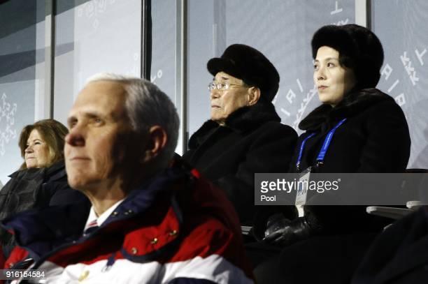 Kim Yo Jong top right sister of North Korean leader Kim Jong Un sits alongside Kim Yong Nam president of the Presidium of North Korean Parliament and...