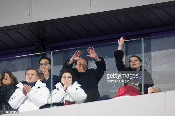 Kim Yojong and President of South Korea Moon Jaein applaud during the Opening Ceremony of the PyeongChang 2018 Winter Olympic Games at PyeongChang...