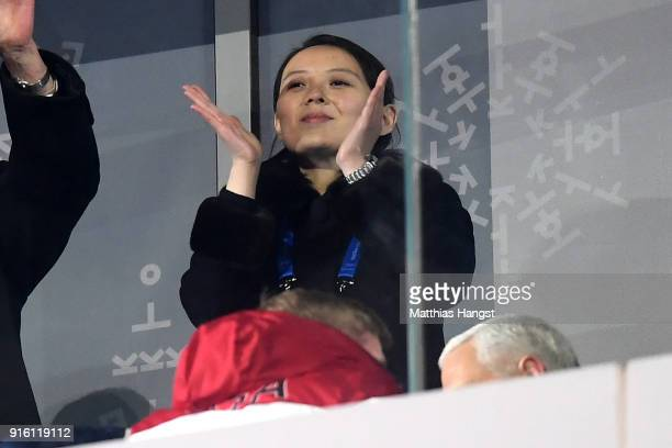 Kim Yojong applauds during the Opening Ceremony of the PyeongChang 2018 Winter Olympic Games at PyeongChang Olympic Stadium on February 9 2018 in...