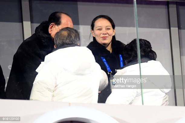 Kim Yojong shakes hands with President of South Korea Moon Jaein during the Opening Ceremony of the PyeongChang 2018 Winter Olympic Games at...