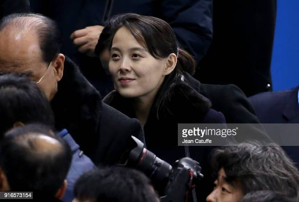 Kim Yojong sister of Kim Jongun attends the women's ice hockey preliminary match between Korea and Switzerland during the 2018 Winter Olympic Games...