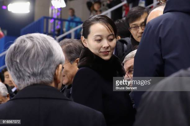 Kim Yojong sister of North Korean leader Kim Jongun attends the Women's Ice Hockey Preliminary Round Group B game between Switzerland and Korea on...