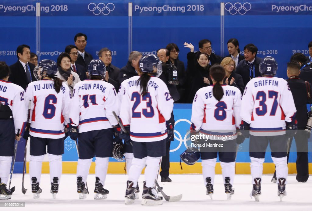 Kim Yo-jong, sister of North Korean leader Kim Jong-un, waves after the Women's Ice Hockey Preliminary Round - Group B game between Switzerland and Korea on day one of the PyeongChang 2018 Winter Olympic Games at Kwandong Hockey Centre on February 10, 2018 in Gangneung, South Korea. Switzerland defeated Korea 8-0.