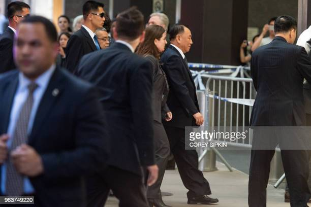 Kim Yong Chol the Vice Chairman of North Korea enters the Millennium Hotel in New York on May 30 2018 North Korean senior official Kim Yong Chol...