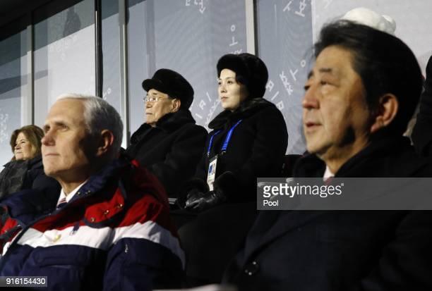 Kim Yong Nam top left president of the Presidium of North Korean Parliament and Kim Yo Jong sister of North Korean leader Kim Jong Un top right sit...