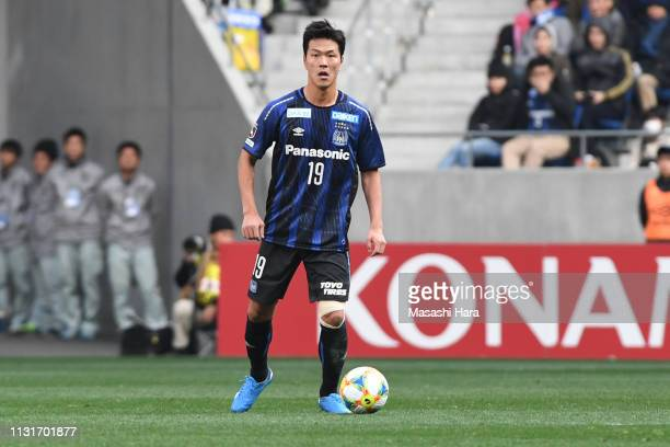 Kim Young Gwon of Gamba Osaka in action during the JLeague J1 match between Gamba Osaka and Yokohama FMarinos at Panasonic Stadium Suita on February...