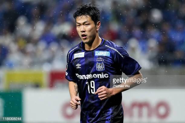Kim Young Gwon of Gamba Osaka in action during the J.League J1 match between Gamba Osaka and Vissel Kobe at Panasonic Stadium Suita on March 30, 2019...