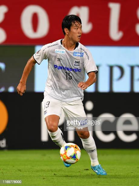 Kim Young Gwon of Gamba Osaka in action during the J.League J1 match between Kashima Antlers and Gamba Osaka at Kashima Soccer Stadium on August 23,...