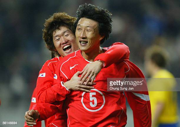 Kim YoungChul of Suth Korea celebrates after his goal with his team mate Park JiSung during the friendly match between South Korea and Sweden at the...