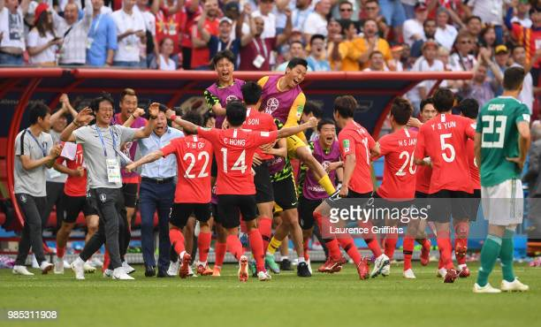 Kim YoungGwon of Korea Republic celebrates with teammates after he scores his sides first goal during the 2018 FIFA World Cup Russia group F match...