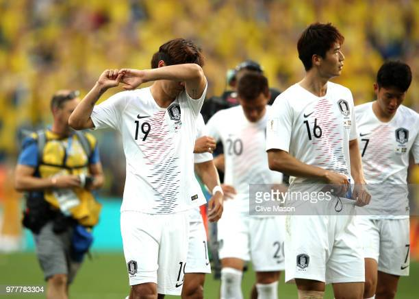 Kim YoungGwon of Korea Republic looks dejected following his sides defeat in the 2018 FIFA World Cup Russia group F match between Sweden and Korea...