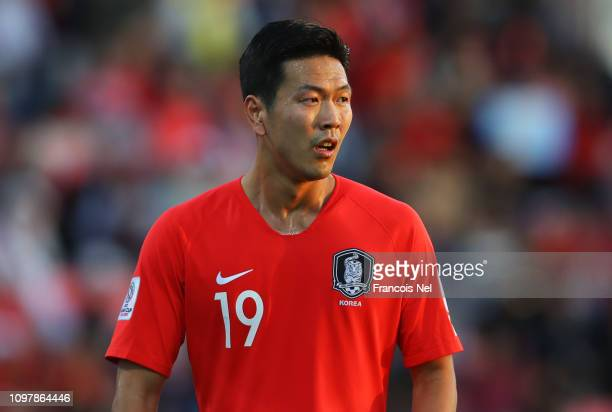 Kim Young-Gwon of South Korea looks on during the AFC Asian Cup round of 16 match between South Korea and Bahrain at Rashid Stadium on January 22,...