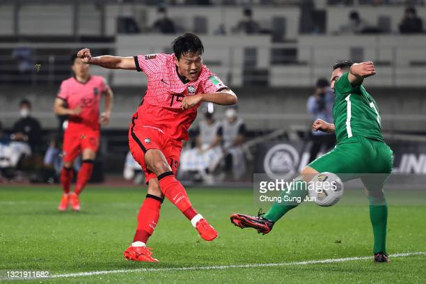 Kim Young-Gwon of South Korea scores a third goal during the FIFA World Cup Asian Qualifier 2nd round Group H match between South Korea and...