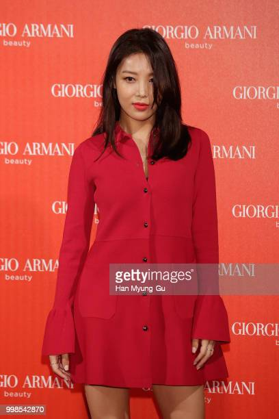 Kim Yubin aka Kim YuBin of South Korean girl group Wonder Girls attends during a promotional event for the 'GIORGIO ARMANI' Beauty on July 13 2018 in...