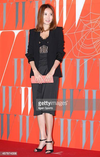 Kim YuMi poses for photographs during the W Korea campaign Love Your W party at Fradia on October 23 2014 in Seoul South Korea