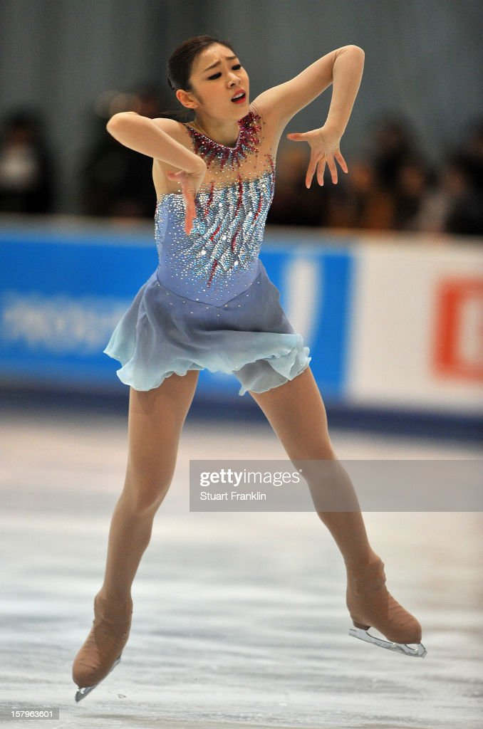 Kim Yuna of Korea dances during the senior ladies short program of the NRW trophy 2012 at Eissportzentrum on December 8, 2012 in Dortmund, Germany.