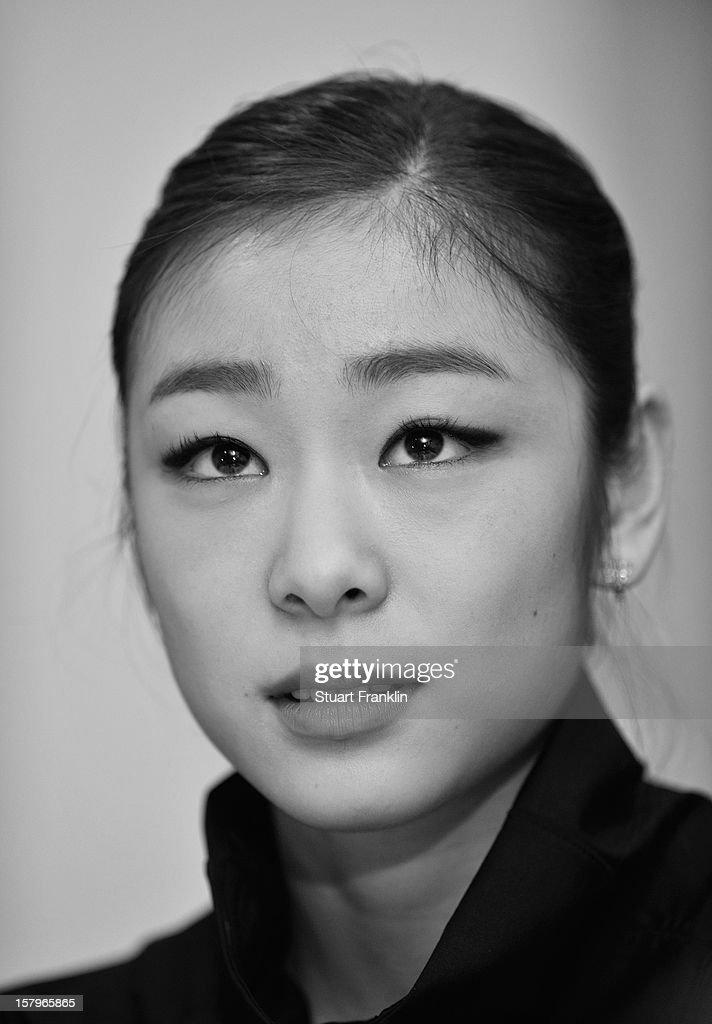 .Kim Yuna of Korea ponders during her press conference after winning the senior ladies short program of the NRW trophy 2012 at Eissportzentrum on December 8, 2012 in Dortmund, Germany.