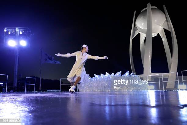 Kim Yuna performes before lighting the Olympic Cauldron during the Opening Ceremony of the PyeongChang 2018 Winter Olympic Games at PyeongChang...