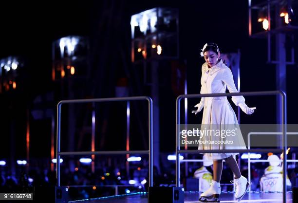 Kim Yuna performs before she lights the Olympic Cauldron during the Opening Ceremony of the PyeongChang 2018 Winter Olympic Games at PyeongChang...