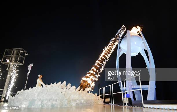 Kim Yuna South Korean Figure Skater lights the cauldron during the Opening Ceremony of the PyeongChang 2018 Winter Olympic Games at PyeongChang...