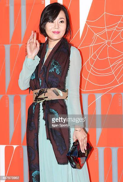 Kim YunJin poses for photographs during the W Korea campaign Love Your W party at Fradia on October 23 2014 in Seoul South Korea