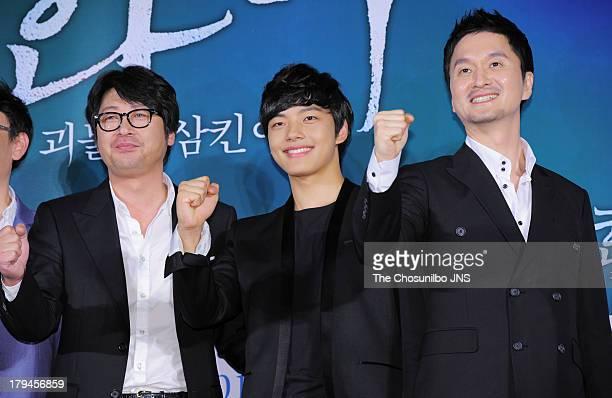 Kim YunSeok Yeo JinGu and Jang HyunSung attend the 'Hwai' press conference at Dongdaemun Megabox on September 3 2013 in Seoul South Korea