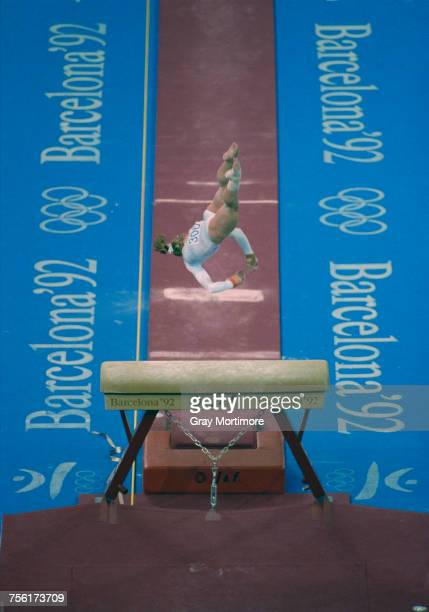 Kim Zmeskal of the United States competes in the Vault competition of the Women's artistic gymnastics team allaround event at the XXV Summer Olympic...