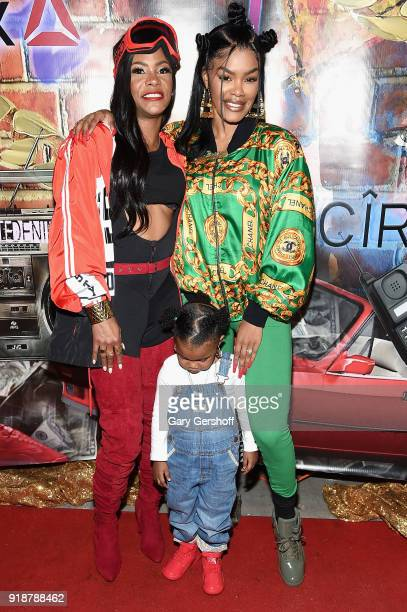 Kima Raynor Dyson Teyana Taylor and Junie Shumpert attend the Junie Bee Nail Salon grand opening on February 15 2018 in New York City