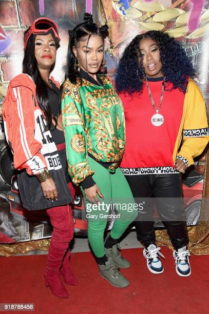 Kima Raynor Dyson Teyana Taylor and Missy Elliott attend the Junie Bee Nail Salon grand opening on February 15 2018 in New York City
