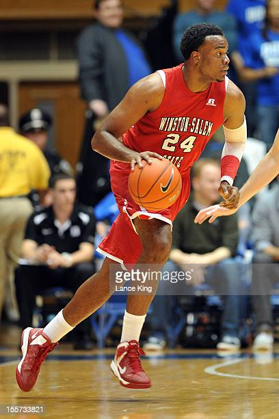 Kimani Hunt of the WinstonSalem State Rams dribbles against the Duke Blue Devils at Cameron Indoor Stadium on November 1 2012 in Durham North...