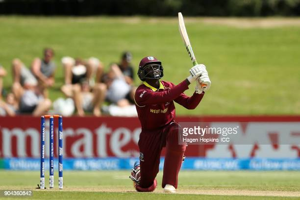 Kimani Melius of the West Indies bats during the ICC U19 Cricket World Cup match between New Zealand and the West Indies at Bay Oval on January 13...