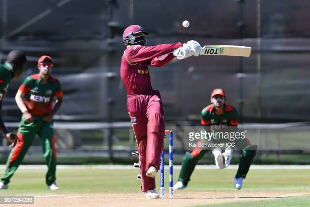 Kimani Melius of the West Indies bats during the ICC U19 Cricket World Cup match between the West Indies and Kenya at Lincoln Oval on January 20 2018...