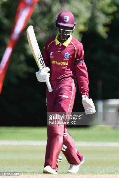 Kimani Melius of the West Indies celebrates his half century during the ICC U19 Cricket World Cup match between the West Indies and Kenya at Lincoln...