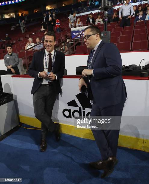 Kimber Auerbach and Kerry Gwydir of the New York Islanders attend the 2019 NHL Draft at the Rogers Arena on June 22 2019 in Vancouver Canada
