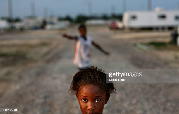 Kimber Smith stands in the FEMA Diamond travel trailer park May 26, 2008 in Port Sulphur, Louisiana. FEMA federal trailer parks that house many...