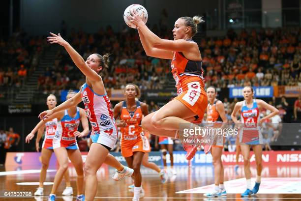 Kimberely Green of the Giants in action during round one of the Super Netball between the Giants and Swifts at Sydney Olympic Park Sports Centre on...