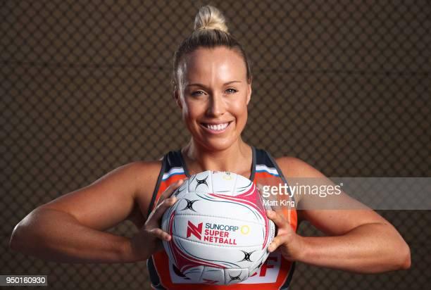 Kimberlee Green of Giants Netball poses during the Suncorp Super Netball 2018 season launch on April 23 2018 in Sydney Australia