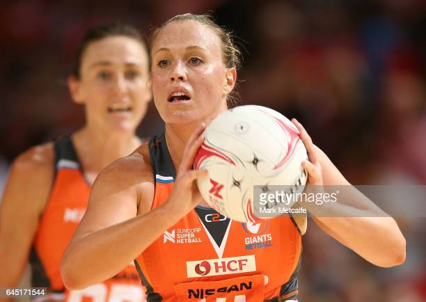 Kimberlee Green of the Giants in action during the round two Super Netball match between the Giants and the West Coast Fever at Qudos Bank Arena on...