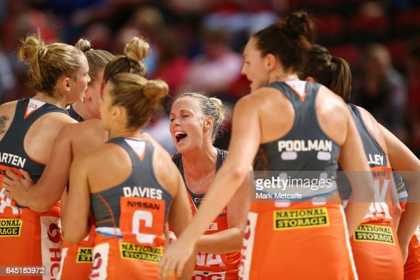 Kimberlee Green of the Giants talks to teammates during a huddle during the round two Super Netball match between the Giants and the West Coast Fever...