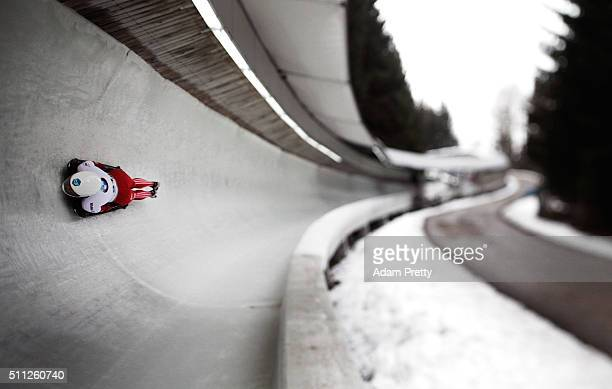 Kimberley Bos of the Netherlands completes her second run of the Women's Skeleton during Day 5 of the IBSF World Championships 2016 at Olympiabobbahn...