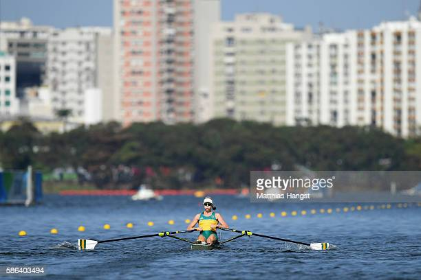 Kimberley Brennan of Australia competes during the Women's Single Sculls Heat 1 on Day 1 of the Rio 2016 Olympic Games at the Lagoa Stadium on August...