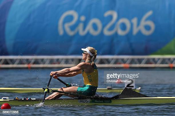 Kimberley Brennan of Australia competes in the Women's Single Sculls Final A on Day 8 of the Rio 2016 Olympic Games at the Lagoa Stadium on August...