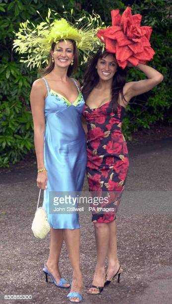 Kimberley Cowell and her friend Jackie St Clair arrive at the Royal Ascot racecourse for the five day meeting which starts today